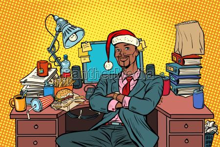 pop art african businessman christmas workplace