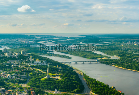 aerial cityscape with kiev architecture