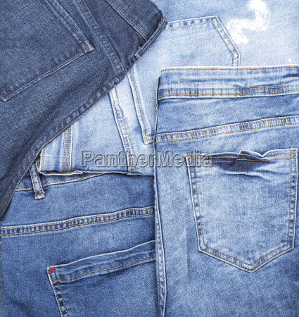 different classic blue jeans full frame