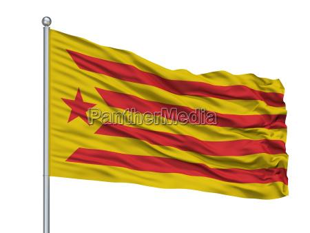 catalan nationalism flag on flagpole isolated