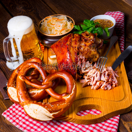 crispy fried bavarian pork knuckle with