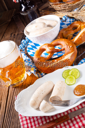 delicious bavarian oktoberfest white sausage with
