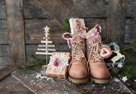 rustic boots with christmas presents