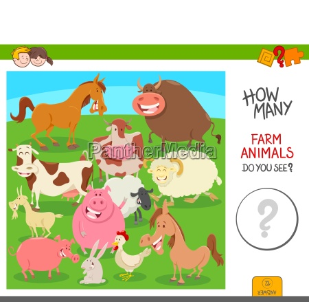 count the farm animals activity game