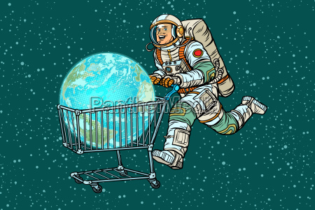 planet earth bought by astronaut shopping