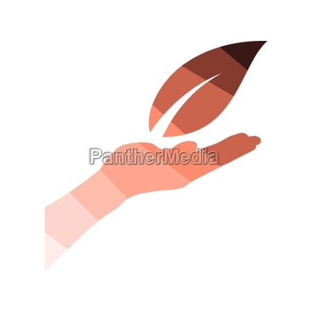 hand holding leaf icon