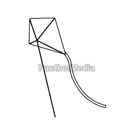 flat design icon of kite in