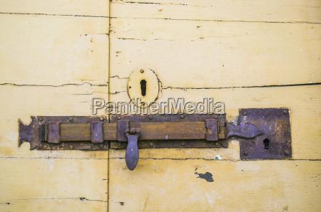 wooden door latch of an ancient