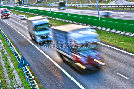 trucks on four lane controlled access