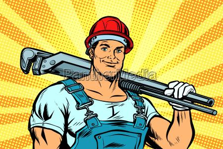 pop art plumber worker with adjustable