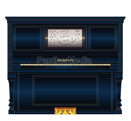 black upright pianola