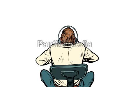 pop art man with headphones back