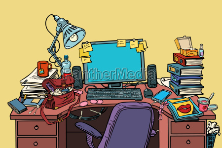 pop art female workplace with computer
