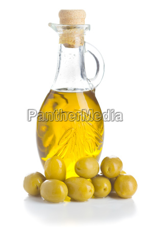 green olives and olive oil