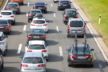 rear view of traffic jam of