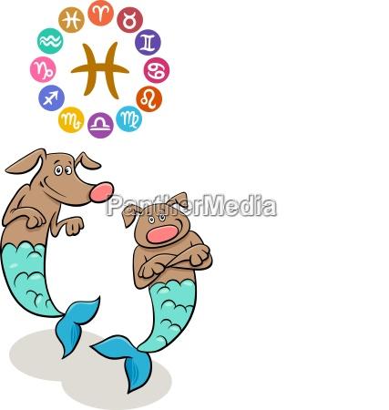 pisces zodiac sign with cartoon dog