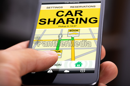 car sharing application on mobile screen