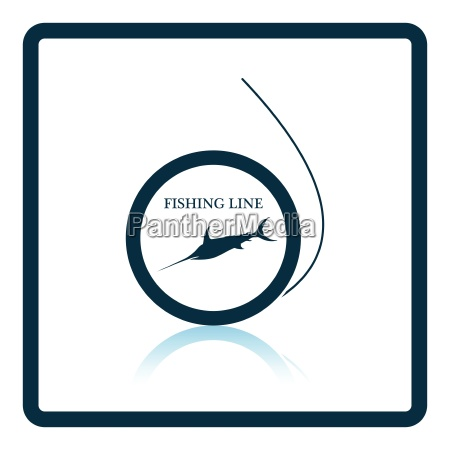 icon of fishing line on gray