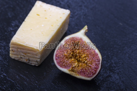 closeup of a fig with cheese
