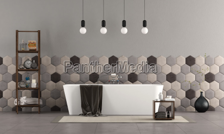 bathroom with bathtub and hexagonal tiles