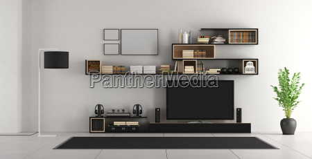 white living room with tv
