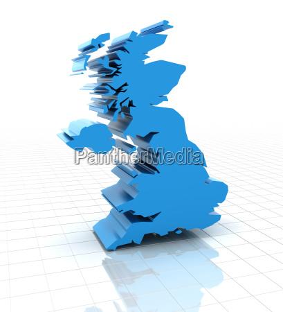 extruded united kingdom uk map