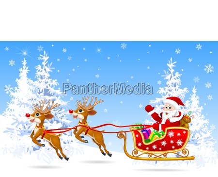 santa on sleigh with deer 1