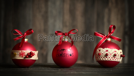 red, christmas, balls, on, wooden, background - 25843638