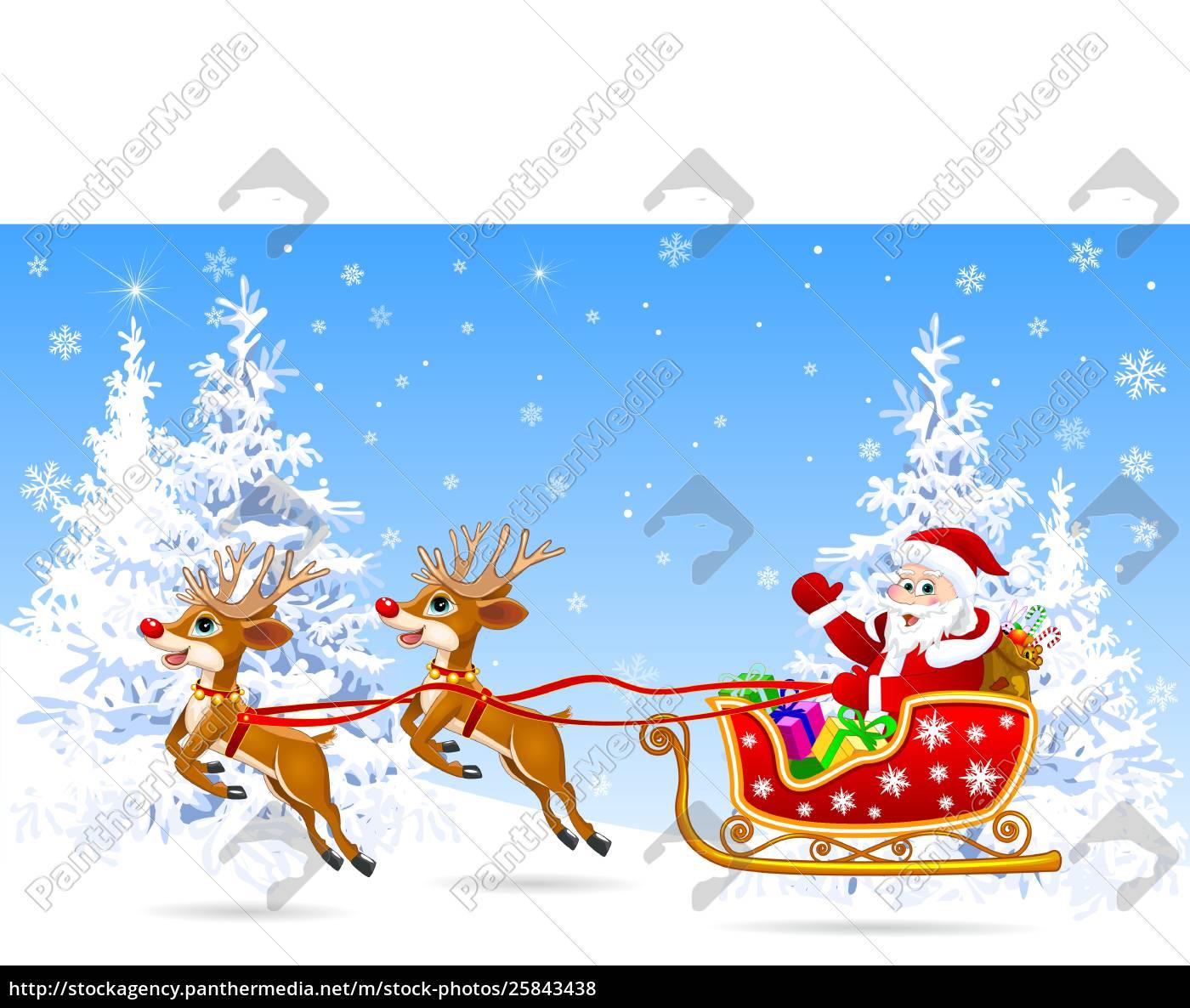 santa, on, sleigh, with, deer, 1 - 25843438