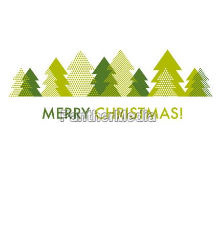 green christmas tree card template vector
