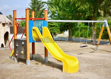 playground with slide and swings