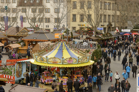 aerial view of xmas market in