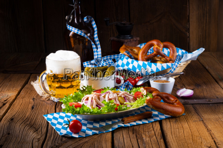 delicious bavarian sausage salad with onion