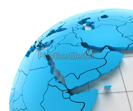 globe of middle east with national