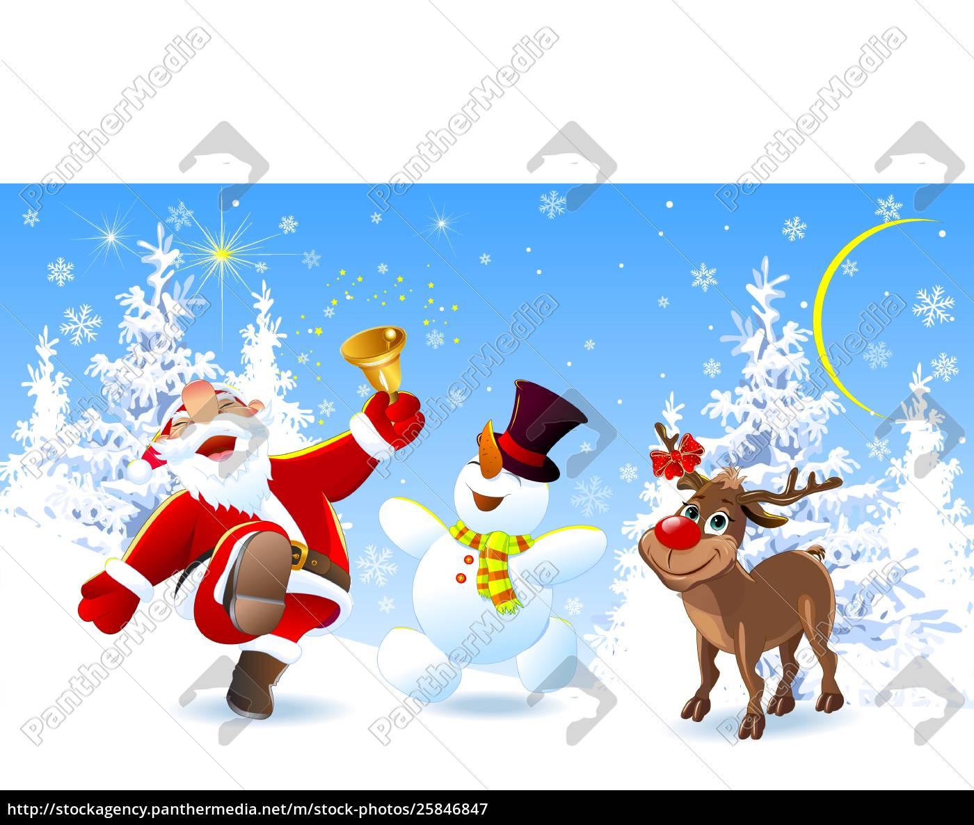 happy, santa, , deer, and, snowman - 25846847