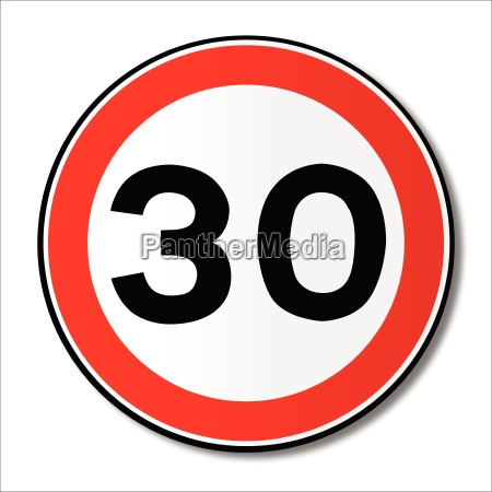 30 mph limit traffic sign