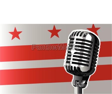 washington dc flag and microphone
