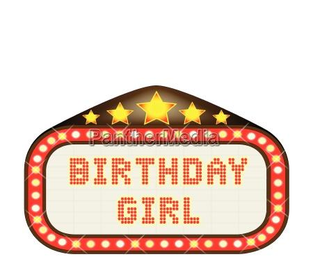 cinema marquee birthday girl