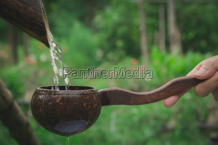 water pouring in coconut shell and