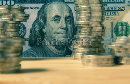 financial with stack coin and banknote