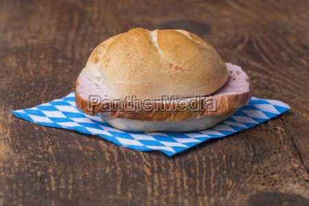 a typical bavarian snack the leberkaessemmel
