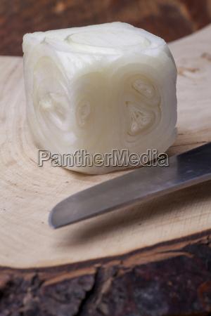 an onion cut into a cube