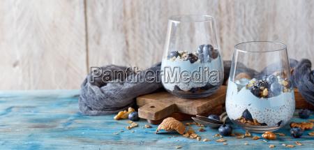 blueberries, and, yogurt, chia, pudding, parfait - 25848515