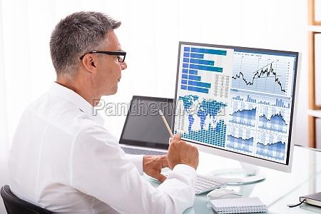analyzer examining graph on computer