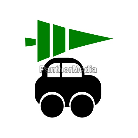 car icon with christmas tree