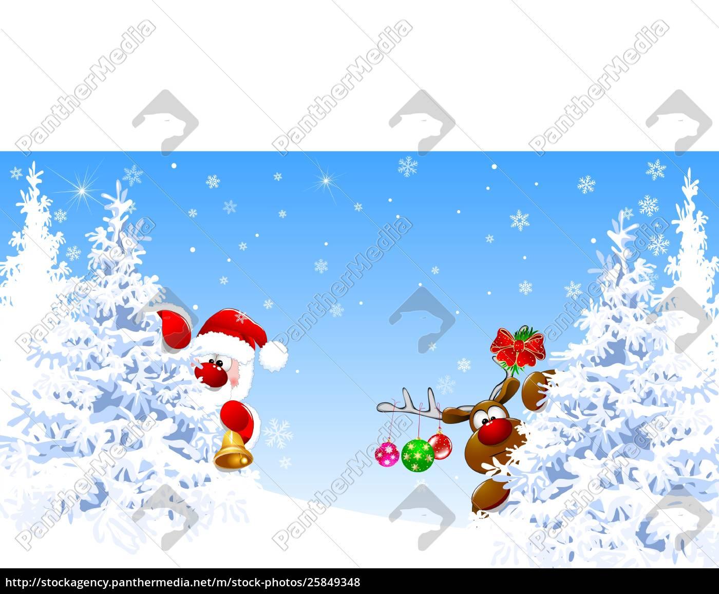 santa, claus, and, deer, in, the - 25849348