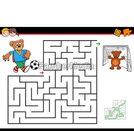 cartoon maze activity with bear playing