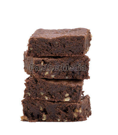 square baked pieces of chocolate brownie