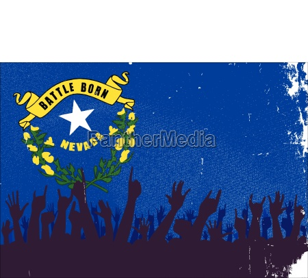 nevada state flag with audience