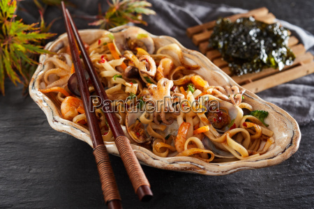 fried japanese noodle and seafood appetizer